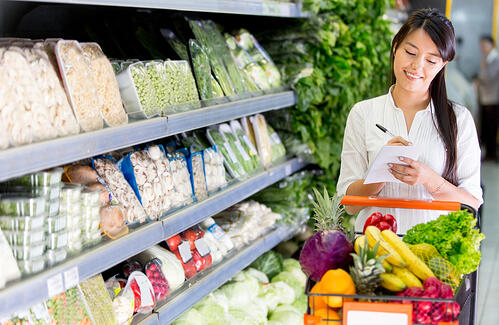 Woman with a shopping list for groceries at the market